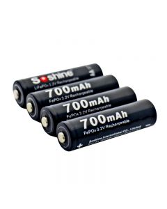 Soshine 14500/AA 3.2V 700mAh Protected Rechargeable LiFePO4 Battery with Battery Case (4-Unit)