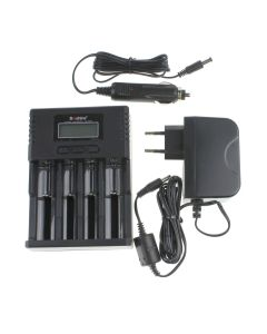 Soshine H4 LCD Smart Universal Charger for 26650 18650 16340 Li-ion LiIFePO4 NiMH 1.2V C AA AAA Battery+Car charger