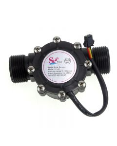 YF-G1 Plastic Water Flow DN25 Hall Sensor Flowmeter / Counter - Black
