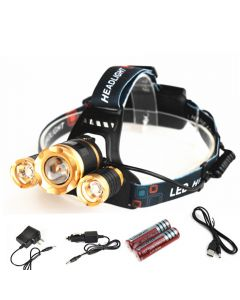 LED Zoom Headlight Cree T6+2R5 Outdoor Camping Fishing Hunting High Power Rechargeable Headlamp(1/set)