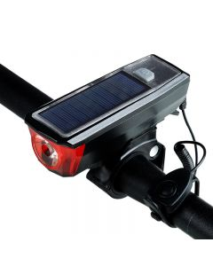 Biking Solar Power Bike Light Waterproof 350 Lumen Bicycle Bell Light LED USB Rechargeable Lamp Front Headlights Bike Light
