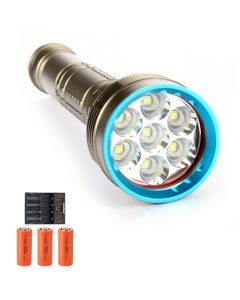 14000 lumens 7*L2/T6 Diving Torch Diving Light 26650 Rechargeable Diving Glare Flashlight