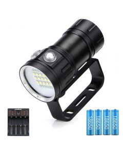 20000 lumens 6x XHP90 underwater 100m waterproof LED diving flashlight with 18650 charger