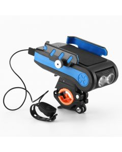 4000mAh LED Bike Lights Bicycle Light Front With Horn Phone Holder USB Rechargeable Flashlight